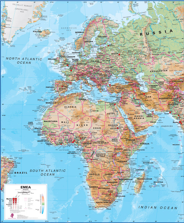 Europe, Middle East & Africa Physical Wall Map by Maps International