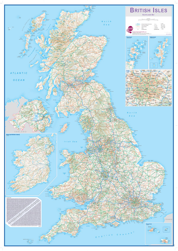 Large British Isles Routeplanning Wall Map by Maps International