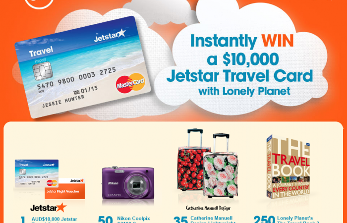 Lonely Planet promotion - Instantly Win a $10,000 Jetstar Travel Card