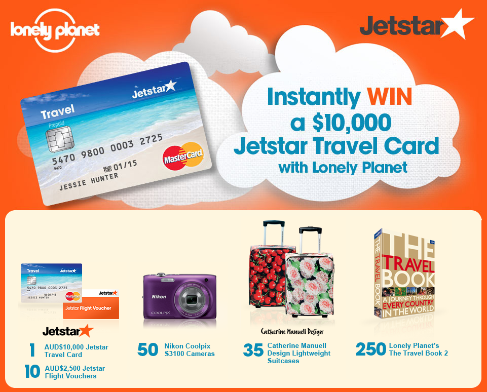 Instantly win a $10,000 Jetstar Travel Card with Lonely Planet