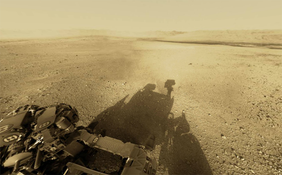 360 degree view of the Gale Crater from atop Curiosity on Mars