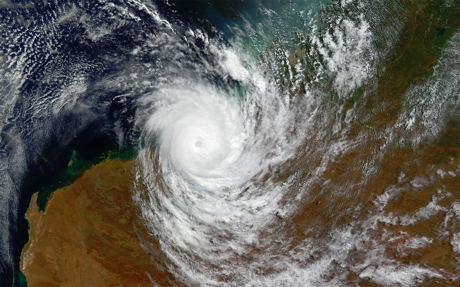 Satellite image of a cyclone during wet season in Australia