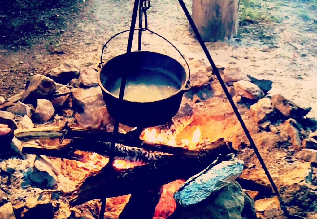 Camp meals over a fire pit