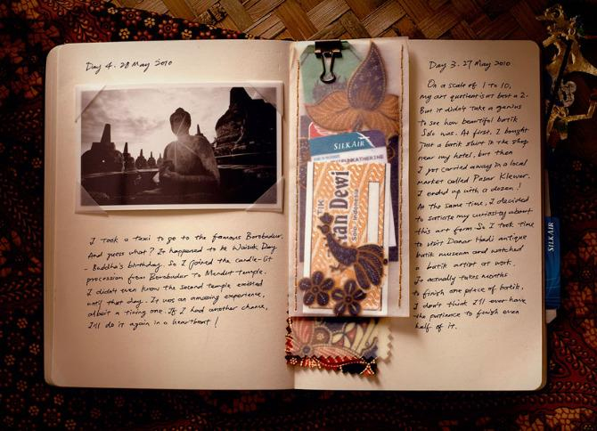 A travel journal filled with pictures and boarding passes