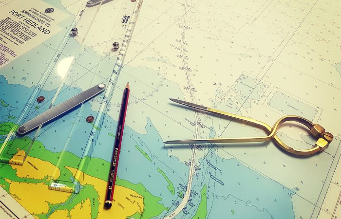 Map of Port Headland with navigation instruments