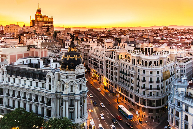 A city in Spain at sunset