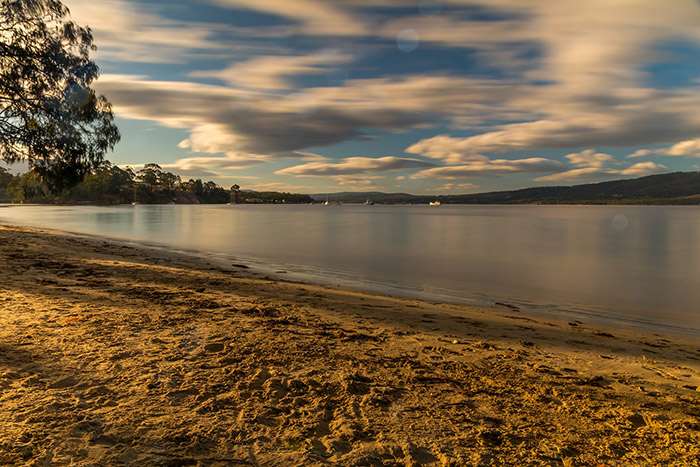 A river in Tasmania at sunset