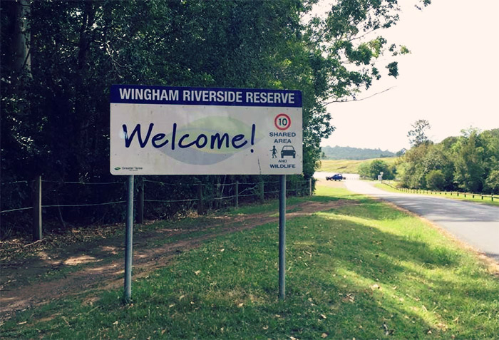 Welcome to Wingham Riverside Reserve sign